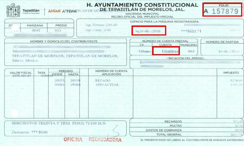 Imprimir Recibo Pago Predial San Luis Potosi 2016